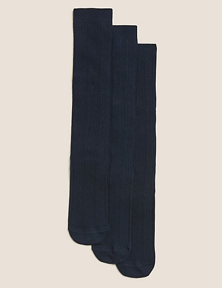 3 Pairs of Cable Knee High Socks (3-14 Years)