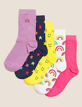 5pk Cotton Rainbow Socks