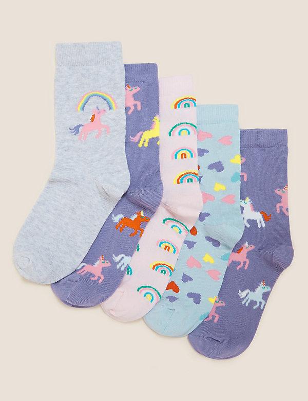 5 paar katoenen sokken met eenhoornmotief