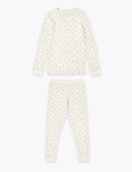 Floral Print Pointelle Thermal Set (18 Months - 16 Years)