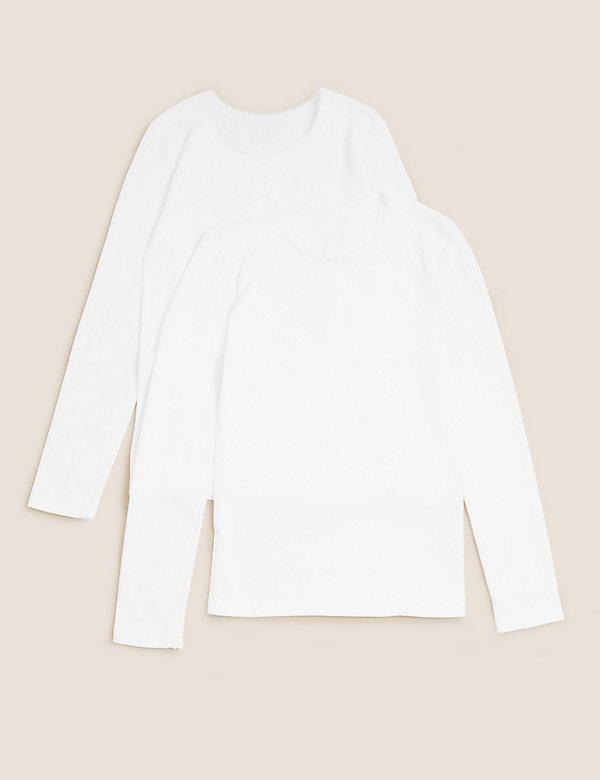 2pk Thermal Cotton Long Sleeved Vests (2-16 Yrs)