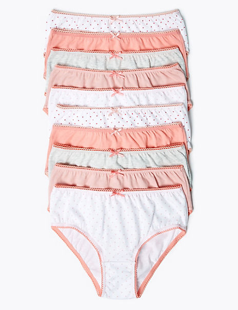 10 Pack Pure Cotton Spotted Knickers (2-16 Years)