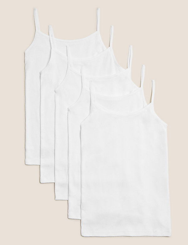 5 Pack Pure Cotton Camisoles (2-16 Yrs)