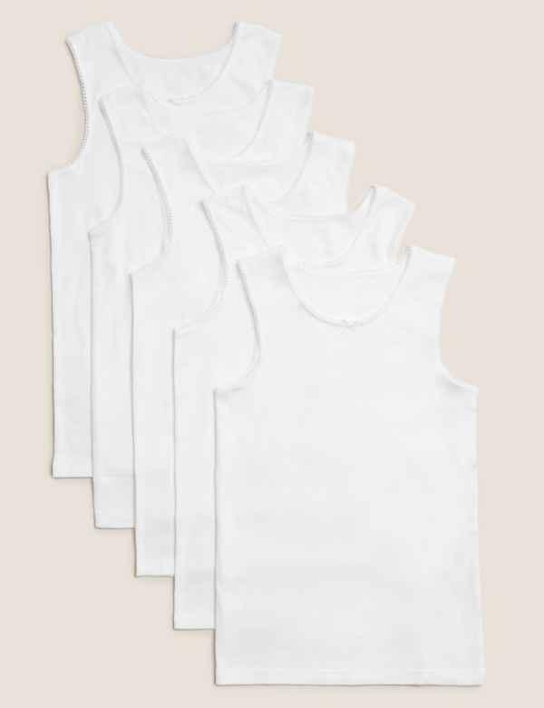 2 x Boys White Cotton Vests Various Sizes Childrens Underwear