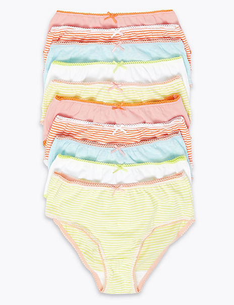 10 Pack Pure Cotton Striped Knickers (2-16 Years)