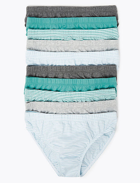 10 Pack Pure Cotton Striped Briefs (2-16 Years)