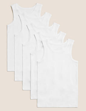 5 Pack Pure Cotton Vests (2-16 Yrs)