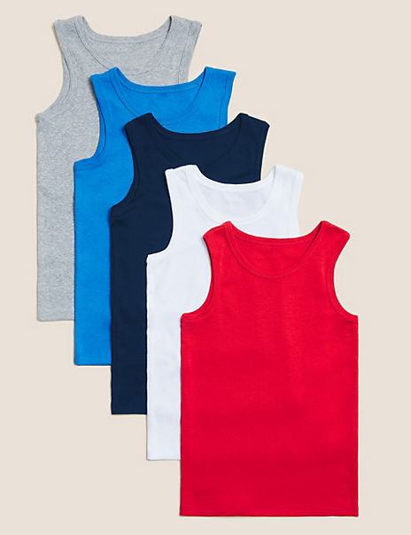 5 Pack Pure Cotton Vests (2-16 Years)
