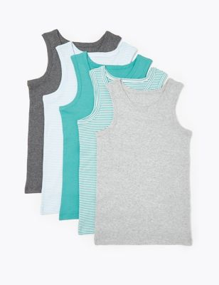 5 Pack Pure Cotton Striped Vests (2-16 Years)