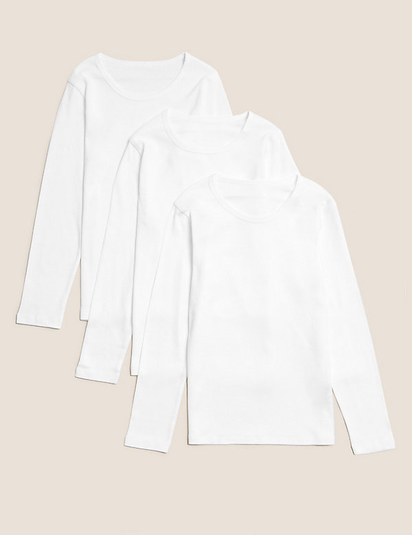 3 Pack Pure Cotton Long Sleeve Vests (2-16 Yrs)