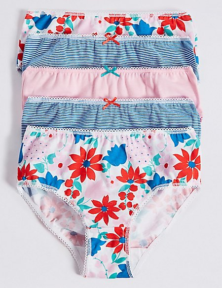 Pure Cotton Floral Briefs (18 Months - 12 Years)