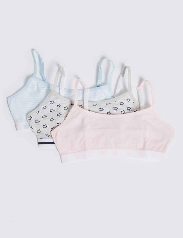 74b6d2e95026a 3 Pack Cotton Cropped Tops (6-16 Years)