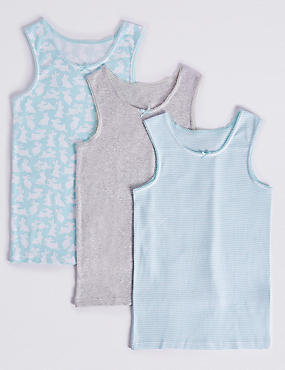 3 Pack Pure Cotton Vests (18 Months - 12 Years)