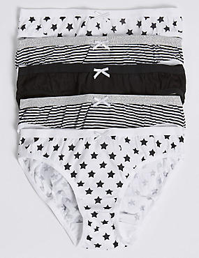 5 Pack Pure Cotton Bikini knickers (6 -16 Years)