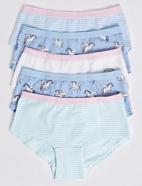 5 Pack Cotton with Stretch Unicorn Shorts (6-16 Years)