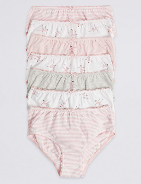 7 Pack Pure Cotton Ballerina Briefs (18 Months - 12 Years)