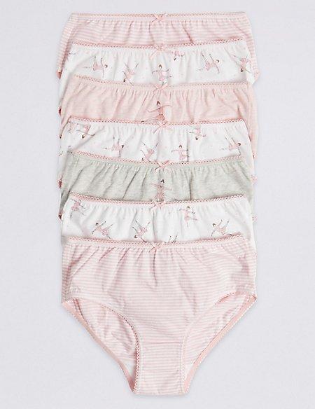 7 Pack Pure Cotton Ballerina Briefs (18 Months - 12 Years)