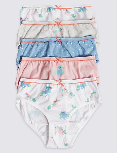 5 Pack Cotton with Stretch Unicorn Briefs (18 Months - 12 Years)