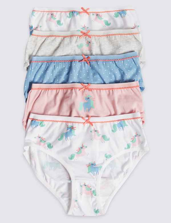 1f869434640e 5 Pack Cotton with Stretch Unicorn Briefs (18 Months - 12 Years)