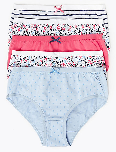 5 Pack Cotton Floral & Striped Briefs (18 Months - 12 Years)