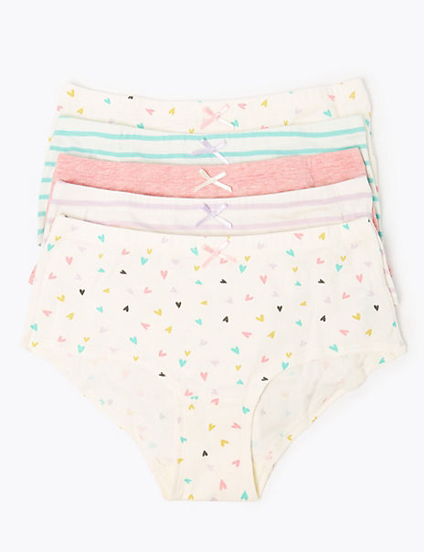 5 Pack Heart Print & Striped Shorts (6-16 Years)