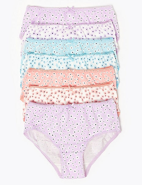 7 Pack Cotton Floral Knickers (2-16 Years)