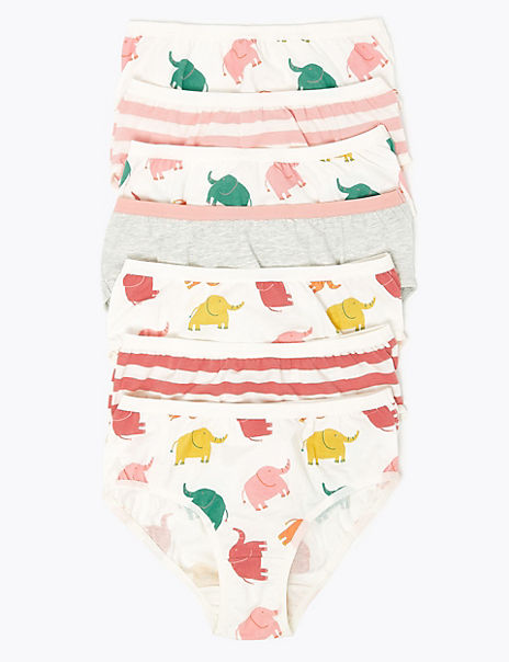 7 Pack Cotton Rich Elephant Knickers (2-16 Years)