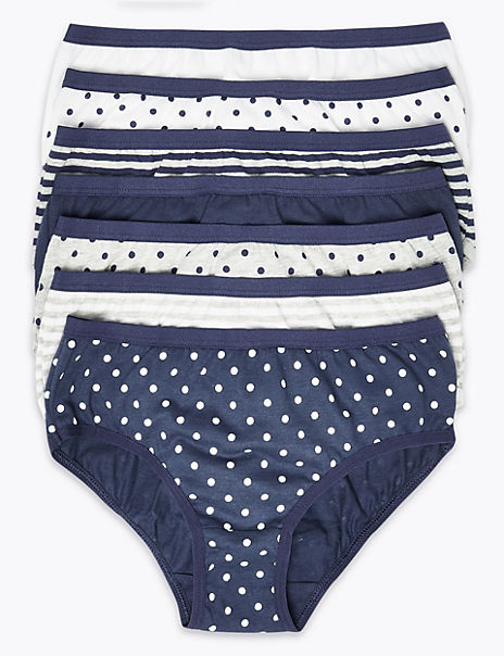 7 Pack Cotton Spotted & Striped Briefs (18 Months - 12 Years)