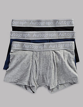 3 Pack Cotton Trunks with Lycra (4-16 Years)