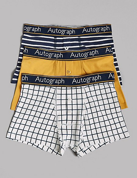 3 Pack Cotton Trunks with Lycra (6-16 Years)