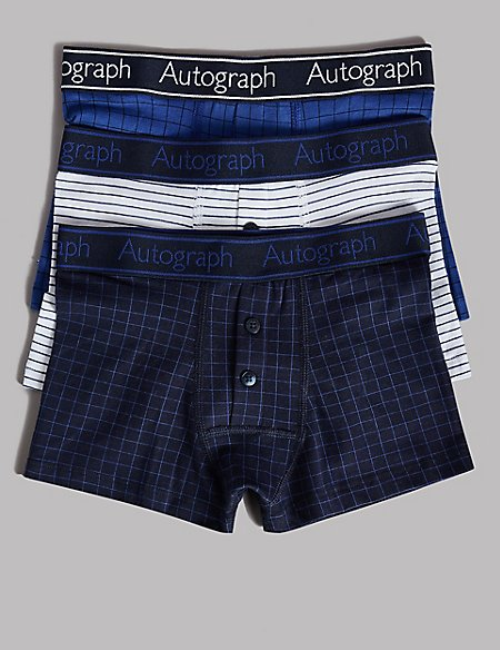 3 Pack Cotton Trunks with Stretch (6-16 Years)