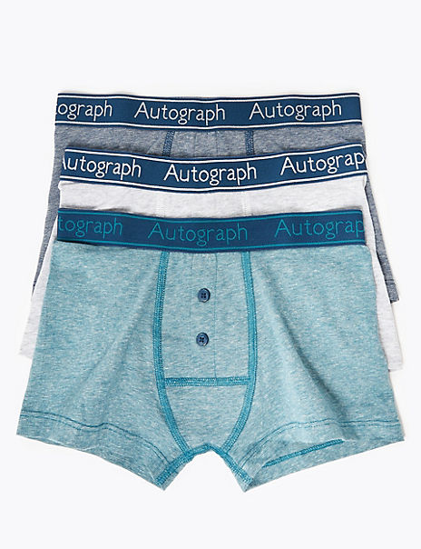 3 Pack Cotton with Lycra® Autograph Print Trunks (6-16 Years)