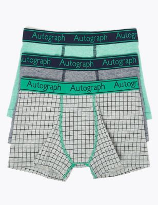 3 Pack Cotton with Lycra® Checked Trunks (6-16 Yrs)