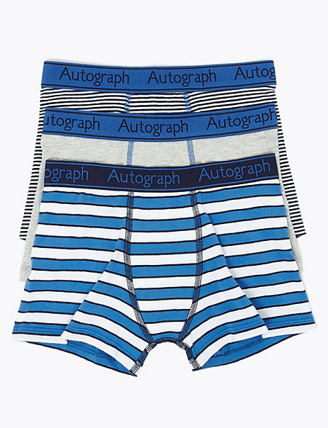 3 Pack Cotton with Lycra® Striped Trunks (6-16 Years)