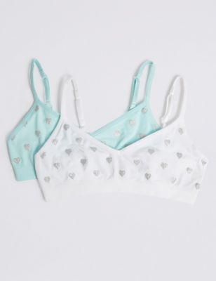 2 Pack Glitter Seamfree Cropped Tops (6-16 Years)