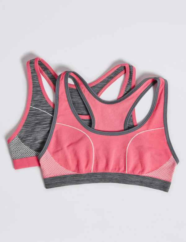 p60221111: 2 Pack Sporty Racer Seamfree Cropped Tops (6-16 Years)