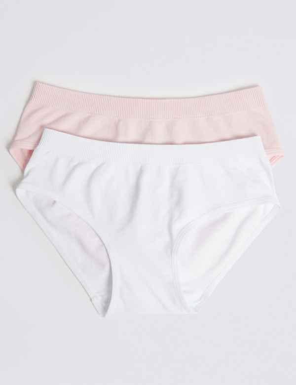 2 Pack Seamfree Bikini Knickers (6-16 Years) b098a1c7a
