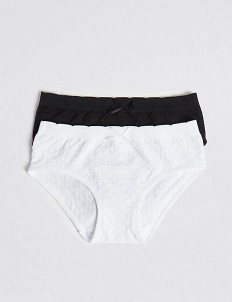 2 Pack Jacquard Spot Seamfree Bikini Knickers (6-16 Years)