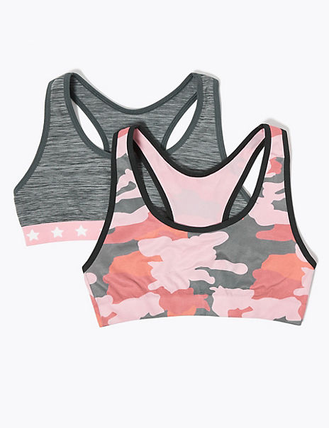 2 Pack Seamfree Camouflage Crop Tops (6-16 Years)