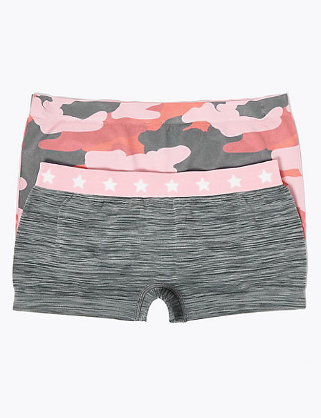 2 Pack Seamfree Camouflage Print Shorts (6-16 Yrs)