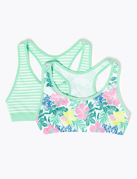 2 Pack Floral & Striped Seamfree Crop Tops (6-16 Yrs)