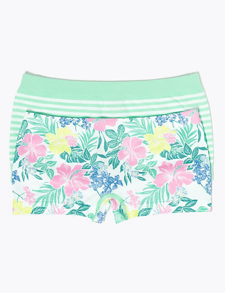 2 Pack Floral & Striped Seamfree Shorts (6-16 Yrs)
