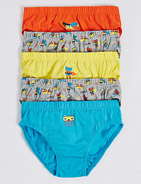 5 Pack Pure Cotton Briefs (18 Months - 8 Years)