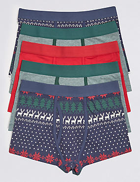 5 Pack Cotton Trunks with Stretch (18 Months - 16 Years)