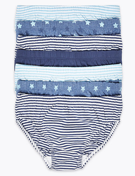 7 Pack Cotton Star & Stripe Print Briefs (18 Months - 8 Years)