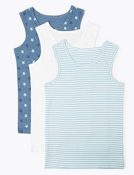 3 Pack Cotton Striped & Star Print Vests (18 Months - 8 Years)