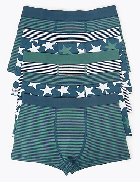 5 Pack Star Print & Striped Trunks (18 Months - 16 Years)