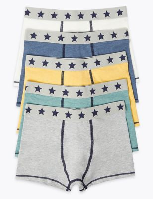 5 Pack Cotton with Stretch Marl Trunks (2-16 Yrs)