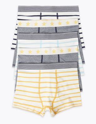 5 Pack Cotton with Stretch Striped Trunks (2-16 Yrs)