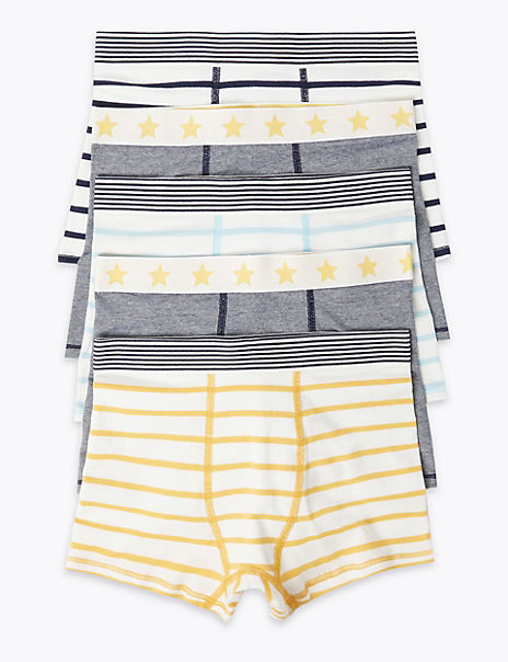 5 Pack Cotton with Stretch Striped Trunks (2-16 Years)
